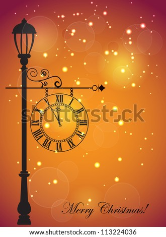 Christmas card with street clock and snowflakes - stock vector