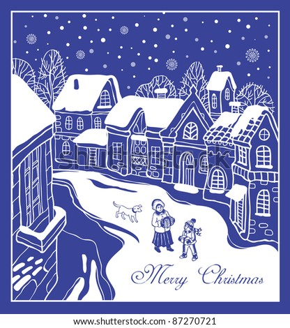 Christmas card with the city and happy people - stock vector