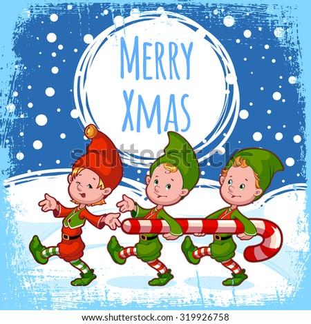 Christmas card three elves candy retro stock vector 319926758 christmas card with three elves with candy in retro style template christmas card vector m4hsunfo