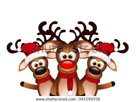 Christmas Card with three happy reindeer  - stock vector