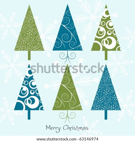 Christmas card with trees, vector - stock vector
