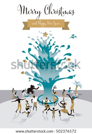 Christmas Card with Water Tree. All human beings celebrate this blessing.