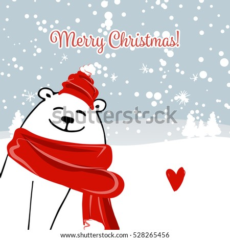 Christmas card with white santa bear
