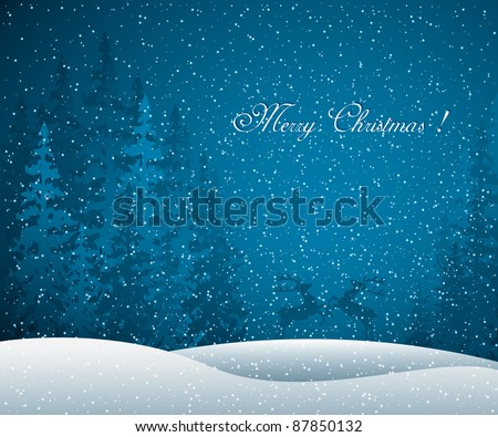 Christmas card with winter evening in blue tone - stock vector