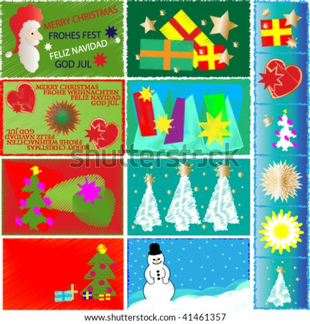 christmas cards in green, red and in blue color