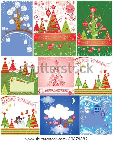 Christmas cards.Set. - stock vector
