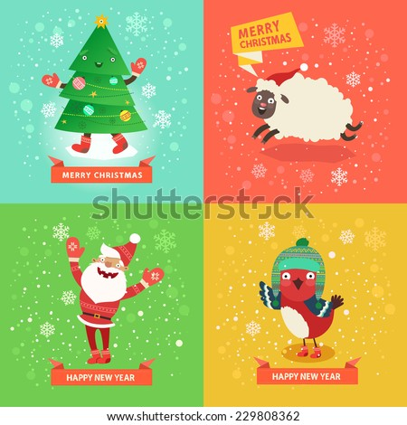 Christmas cards set of funny Santa Claus, Christmas tree, cute sheep and bullfinch in knitted hat. Vector colorful illustration in flat design style - stock vector