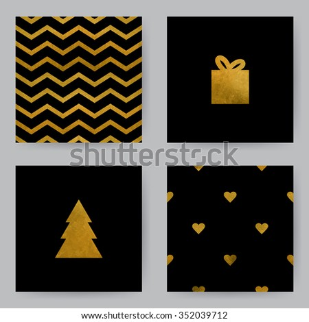 Christmas cards. Vector templates with black background for invitation card or holiday decor. Golden fill. - stock vector
