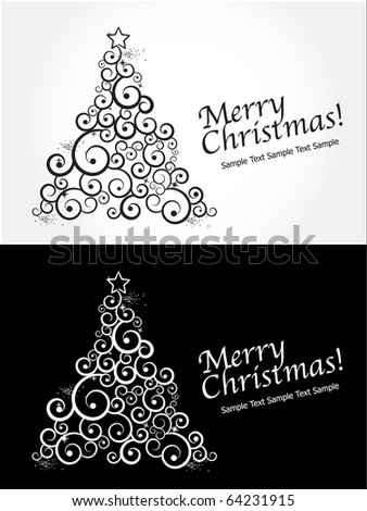 Christmas Cards with Christmas Tree. Editable Vector - stock vector