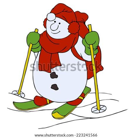 Christmas cartoon character, skiing snowman - stock vector