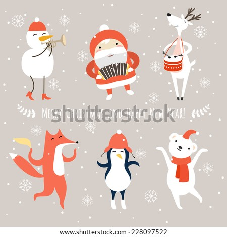 Christmas cartoon characters, santa claus, snowman, deer, bear, fox, pinguin vector set. Merry Christmas and holidays wish Vector illustration.  - stock vector