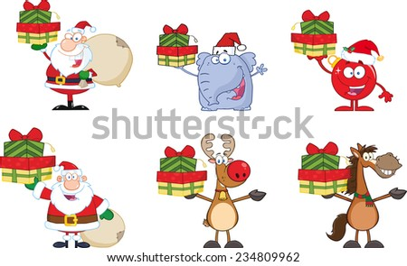 Christmas Cartoon Characters. Vector Collection Set - stock vector