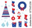 Christmas cartoon icons & elements isolated on white (red, blue) - stock vector