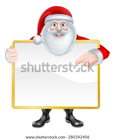 Christmas cartoon illustration of Santa Claus holding a sign and pointing at it. - stock vector