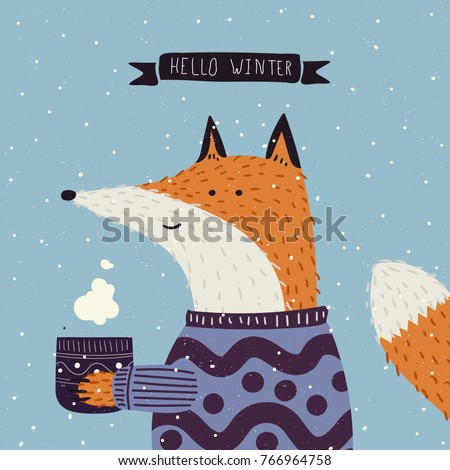 christmas cartoon new year characters fox stock vector royalty free