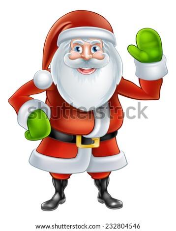 Christmas cartoon Santa Claus character waving - stock vector