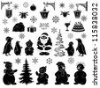 Christmas cartoon, set black silhouettes on white background: Santa Claus, penguins, snowmans and various objects - symbols of the holiday. Vector - stock vector