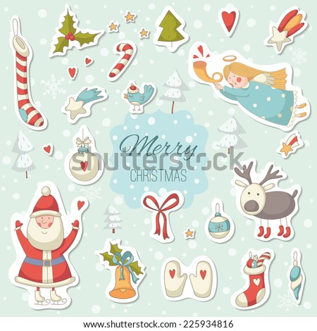 Christmas cartoon stickers with Santa Claus. EPS 10. No transparency. No gradients.