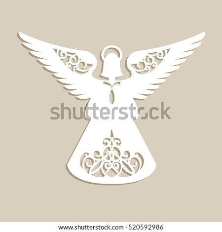 Lasercut paper christmas angel decoration vector stock for Angel tree decoration template