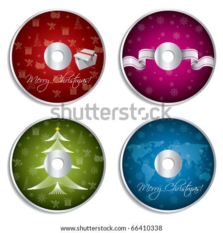 Christmas cd design set - stock vector