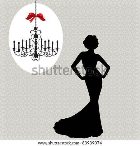 christmas chandelier  and glamour woman silhouette - stock vector
