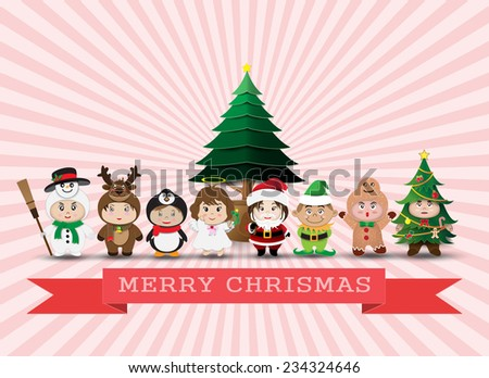 Christmas  character cute kids .Vector illustration - stock vector
