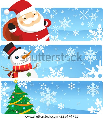 Christmas characters banner designs vector cartoon illustration