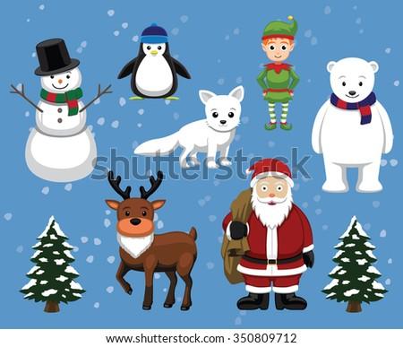 Christmas Characters Cartoon Vector Illustration - stock vector
