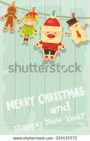 Christmas Characters on Rustic Wooden Background. Santa Claus, Snowman and Christmas Elf. Vertical Format. Vector Illustration. - stock vector