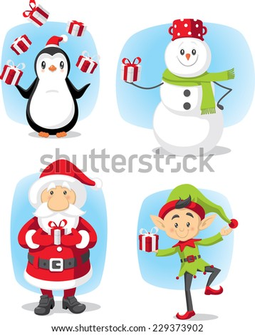 Christmas Characters Set Vector Cartoon - Winter graphics cartoon characters collection File type: vector EPS AI8 compatible. No transparencies, only compatible gradients.  - stock vector