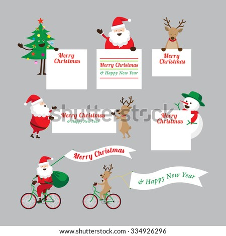 Christmas Characters Show Blank Signs Set, Santa Claus, Snowman, Tree, Reindeer - stock vector