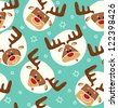 Christmas cheerful vector pattern with deers and stars - stock vector