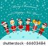 Christmas children card. Vector illustration. - stock vector
