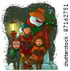 Christmas choir. Carol singers. Funny vector art illustration for a children book or greeting card - stock vector