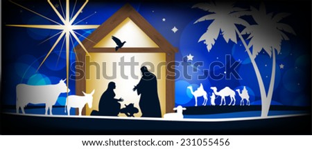Christmas Christian nativity scene, three wise men or kings, farm animals and star of Bethlehem  - stock vector