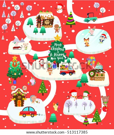 Christmas City With Santa Claus And Cute Friends Poster Set One