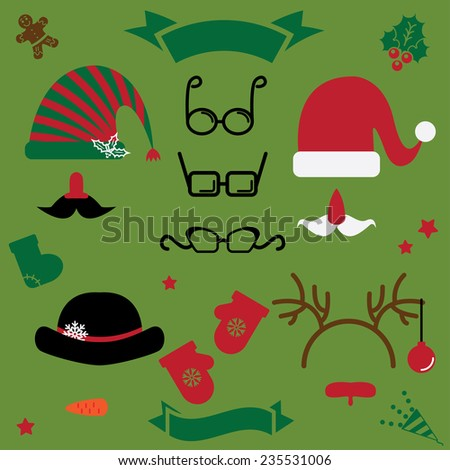 christmas clothes for photo collage. hats, beards, mustache, horns, glasses - stock vector