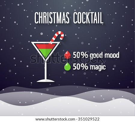 Christmas Cocktail. Vector illustration. - stock vector