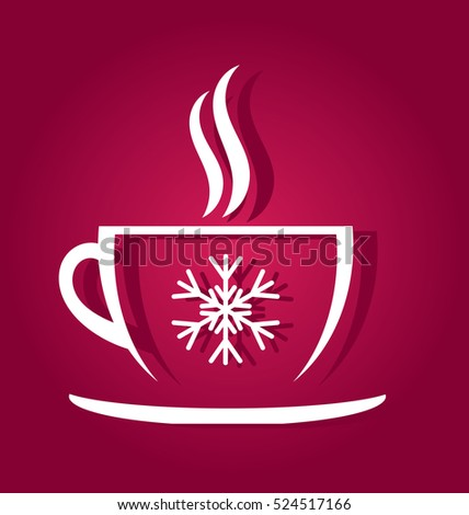 Christmas coffee cup shape illustration