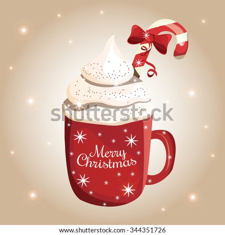 Christmas Coffee (Latte, hot chocolate) drink with Candy Cane and Cream. Vector illustration - stock vector