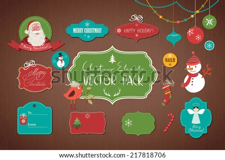 Christmas collection A set of Christmas decoration. - stock vector