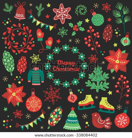 Christmas collection. Fir tree, poinsettia, sweater, snowflakes, mittens, balls, baubles, cookies, berries, bird, cone, fir branches, garland, flowers, confetti, wreaths, skates on dark background - stock vector
