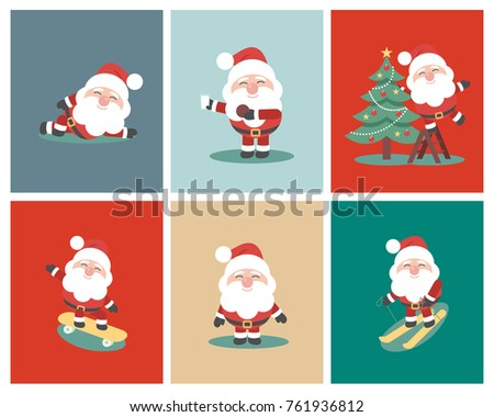 Christmas Collection Of Santa Claus. Set Of Funny Cartoon Characters And New  Yearu0027s Objects.