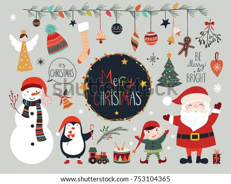 christmas collection with seasonal elements santa and snowman - Santa And Snowman