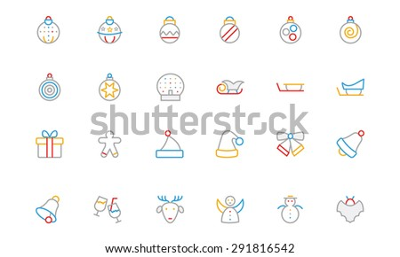 Christmas Colored Outline Icons - stock vector