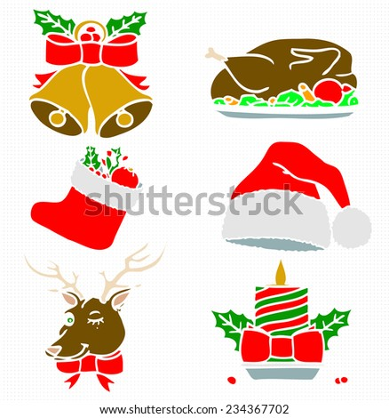 Christmas Colored Silhouettes - stock vector