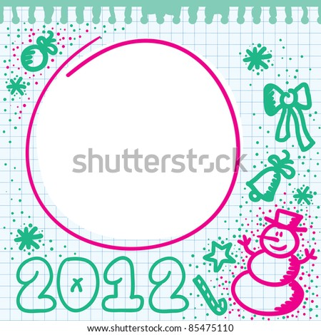 christmas colorful frame with hand drawn elements - stock vector