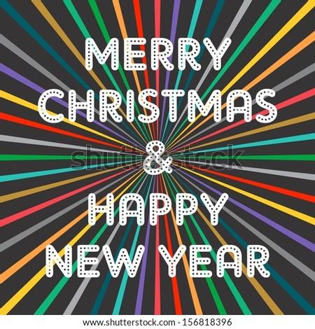 christmas colorful greeting - stock vector