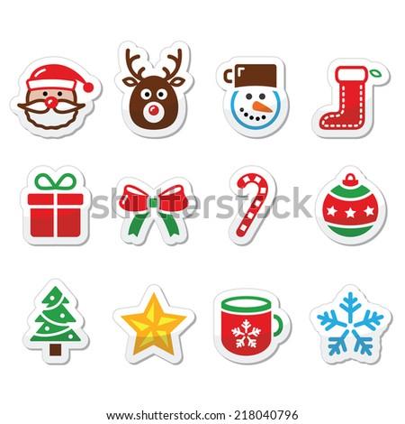 Christmas colorful icons set - Santa, present, tree, Rudolf - stock vector