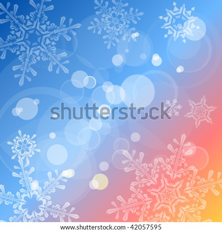 Christmas colorful vector background, lens flares & snowflakes